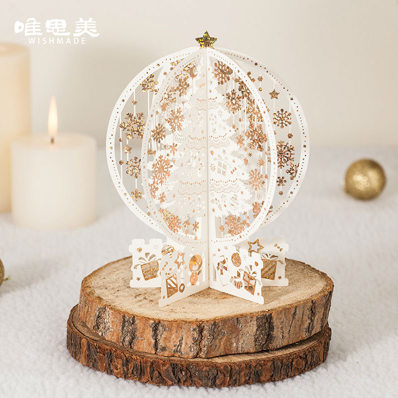 Wishmade 10pcs/lot Laser Cut Vintage 3D Christmas Tree Pop Up Christmas Cards Postcard Greeting Wishes Message Card GX6163