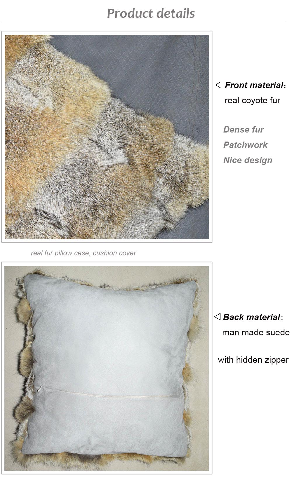 coyote fur cushion details