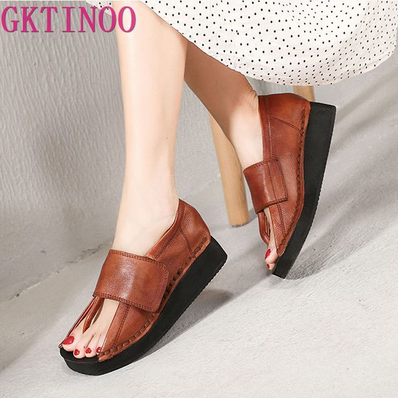 GKTINOO Spring and Summer 2019 New Personality Women Sandals Genuine Leather Hook and Loop Thick Sole Wedge Heels ShoesGKTINOO Spring and Summer 2019 New Personality Women Sandals Genuine Leather Hook and Loop Thick Sole Wedge Heels Shoes