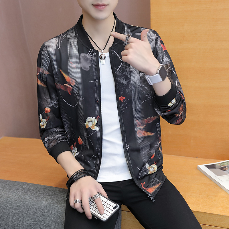 6513b902650 Detail Feedback Questions about Summer Sun Protection Clothing Korean Slim  Fit Bomber Jacket Women Print Hollow Long Sleeve Casual Lover Jackets Men  ...