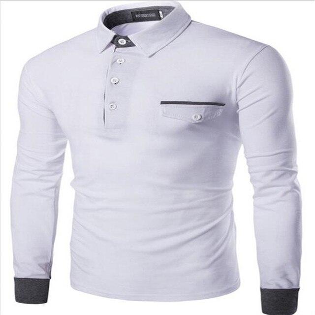 Новые мужские Polo мужская Заклинание Цвет Сшивание Тонкий Лацкане С Длинными рукавами Polo Рубашки, Украшенные Карманы высококачественный Хлопок Polo