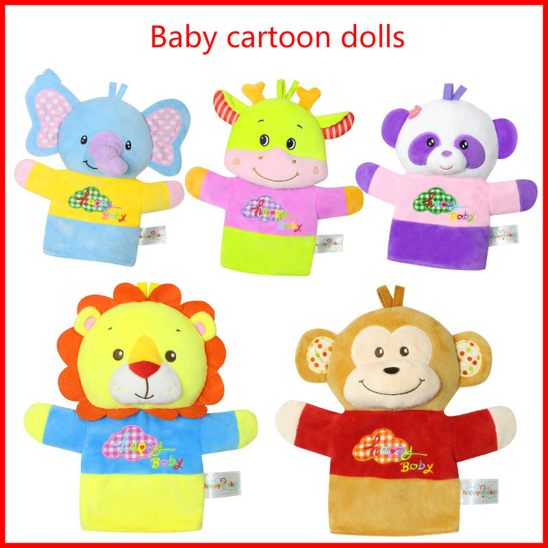 1PCS 22cm Big Hand puppet Happy Infants and Young Children Animal Fingers action 0-2 Baby Puzzle Plush Toys Monkey/Elephant