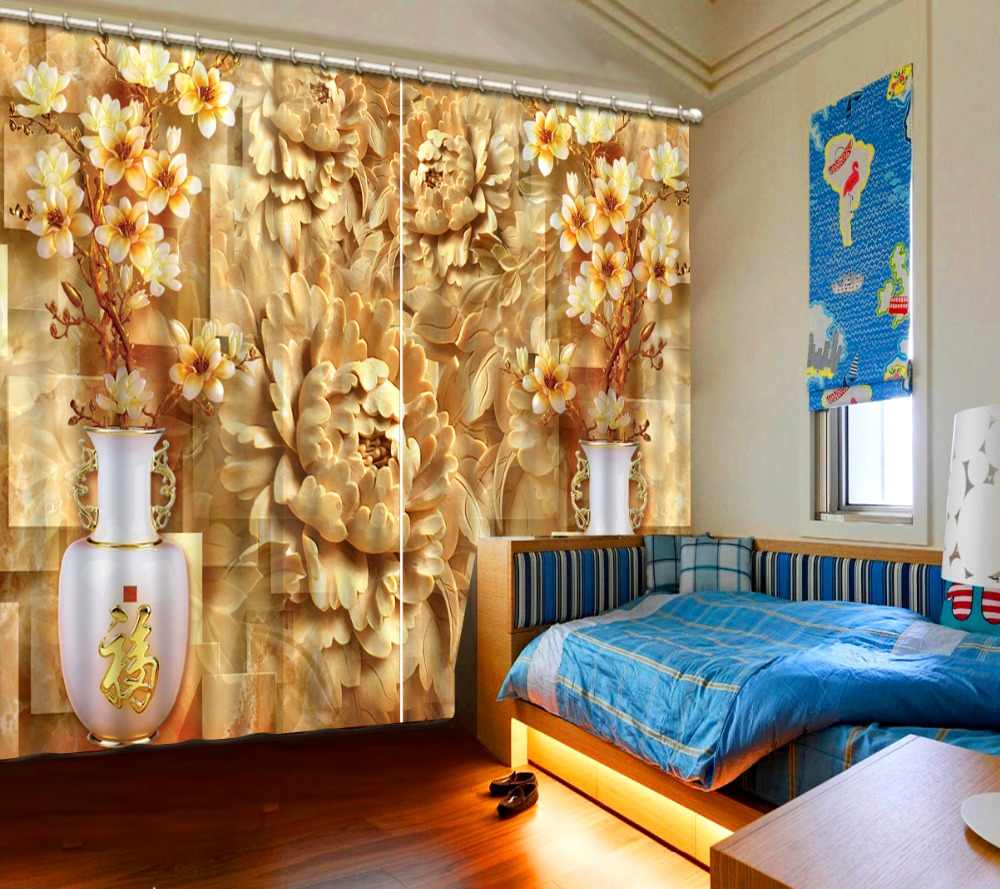 3D Curtains High Quality Embossed vase For Living Room Bedroom Window 3D Curtain Custom any size Photo Print Curtains