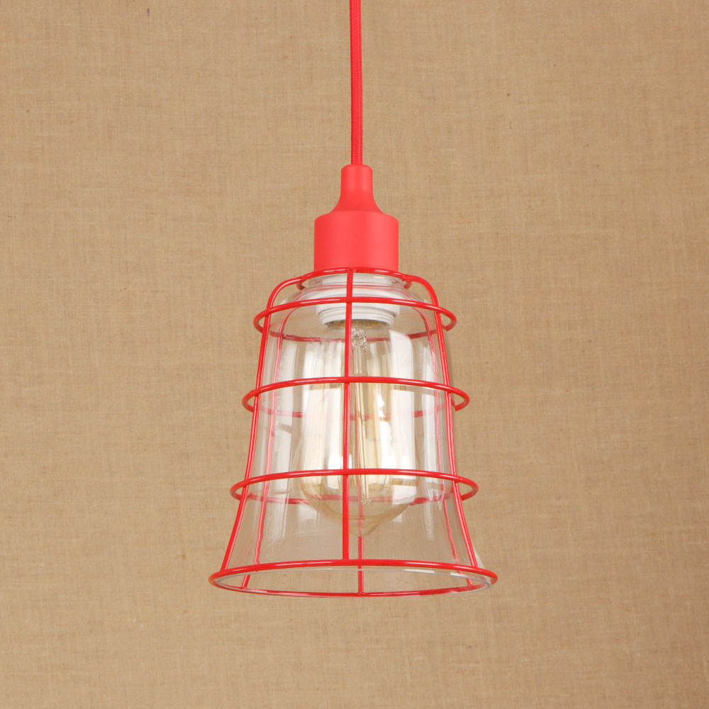 Nordic Modern Simple Glass Iron Red Pendent Light Cafe Living Room Decoration Lamp E27 Small Restaurant Single Head Chandelier