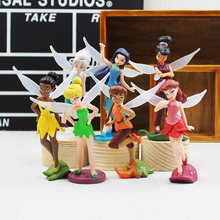 7Pcs/lot Anime Tinkerbell Collectibles Dolls Set Tinker Bell Fairies Pvc Action Figures Kids Toys For girl Children(China)