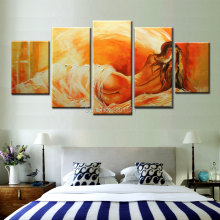 5 Panel nude Wall Art Pictures Oil Painting On Canvas hot sexy naked woman on bed Home Decoration Artwork Picture Decor