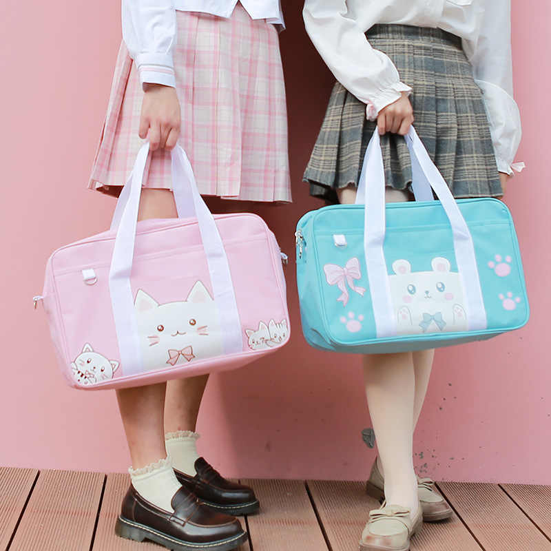 Japanese JK Uniform Anime Cartoon Cute Cat Bear Pig Bowknot Student Schoolbag Shoulder Portable Messenger Bag Handbag for Girls