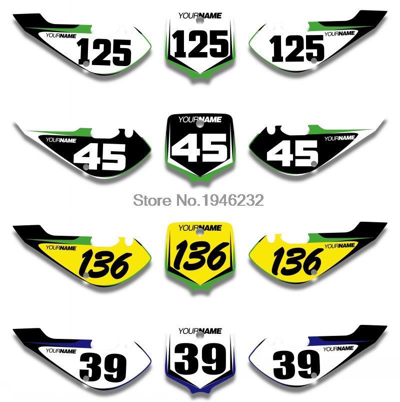 NICECNC Custom Number Plate Backgrounds Sticker Decals & Graphics For Kawasaki KLX110 KLX 110 2002-2009 KX65 2000-2013 KX 65