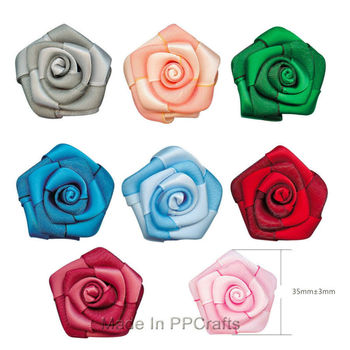 """1"""" or 7/8"""" Bi-Colored Satin Ribbon Flowers Satin/Grosgrain Ribbon Double Color Rose Bows  Satin/Sheer For Cloth Accessioes DIY"""
