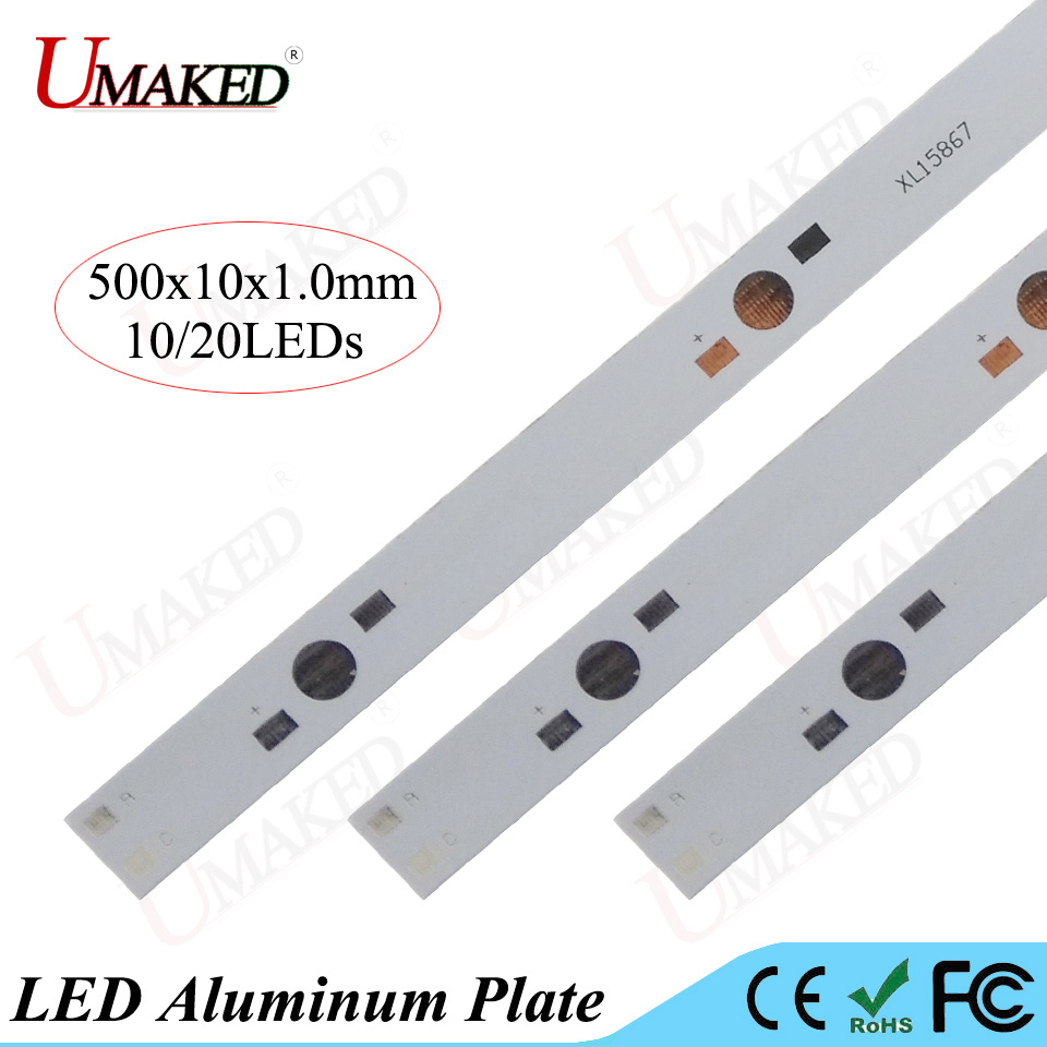 500mm lamp plate 10/20leds LED aluminum plate For 1W 3W 5W high Power doide install LED PCB Board Aquarium tube Grow lights DIY maitech 1w 3w 5w led energy saving lamp beads aluminum plate silver black 10 pcs