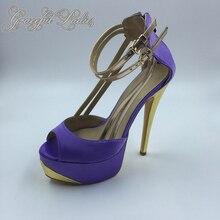 Lilac Peep Toe Platform Women Pumps High Heels Plus Size 44 Ladies Shoes Gold Strap Shoe 2016 Real Photo Pump Soft Leather