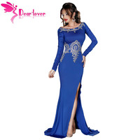 Dear Lover Sexy Party Gowns Formal Vestidos Largo Gold Lace Applique Royal Blue Long Sleeve Dress