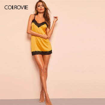 COLROVIE Yellow Lace Trim Satin Criss Cross Satin Sexy Night Dress With Thong Women 2019 Summer Sleeveless Backless Nightgowns 5