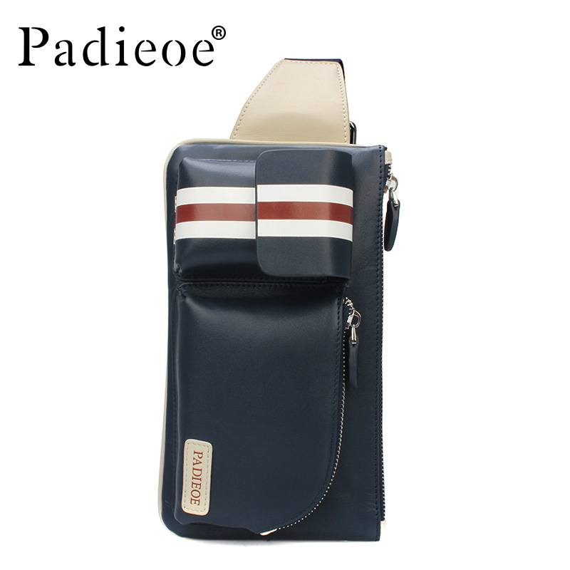 Padieoe Men Genuine Leather Crossbody Bag Brand Handbag New Fashion Shoulder Bags Casual Chest Waist Pack Designer Messenger Bag padieoe new arrival luxury genuine cow leather men handbag business man fashion messenger bag durable shoulder crossbody bags