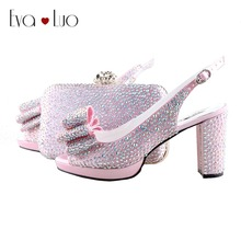 BS953 Custom Handmade Light Pink AB Crystal Bow Slingbacks Shoes with  Matching Bag High Heels Women c610f6e15036