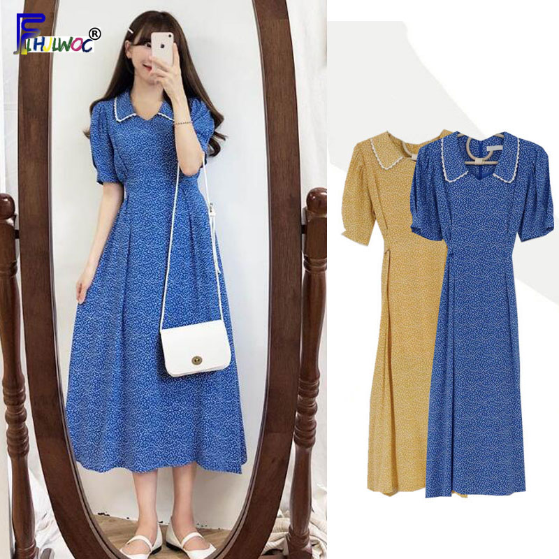 Summer Dresses Long Hot Sales Woman Short Sleeve Peter Pan Collar Bow Ribbon Tie Dot Dress Vintage Korea Style Clothes 7814