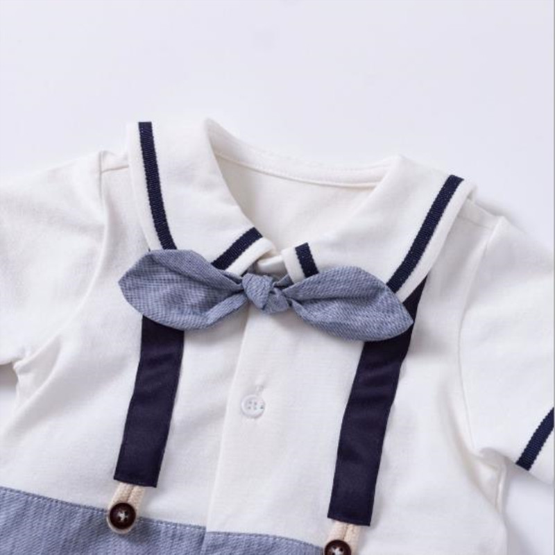 Summer Baby boy short sleeved romper infant fake two pieces of navy collar small gentleman clothing with bow tie jumpsuit in Rompers from Mother Kids
