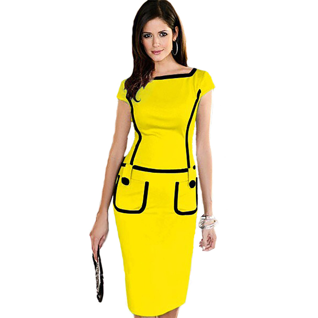 1f83b3020fa77 US $22.38  Women Summer Formal Office Dress Elegant Short Yellow Casual  Bodycon Pencil Dresses Fashion Ladies Pinup Work Clothes 2015 Dress-in  Dresses ...