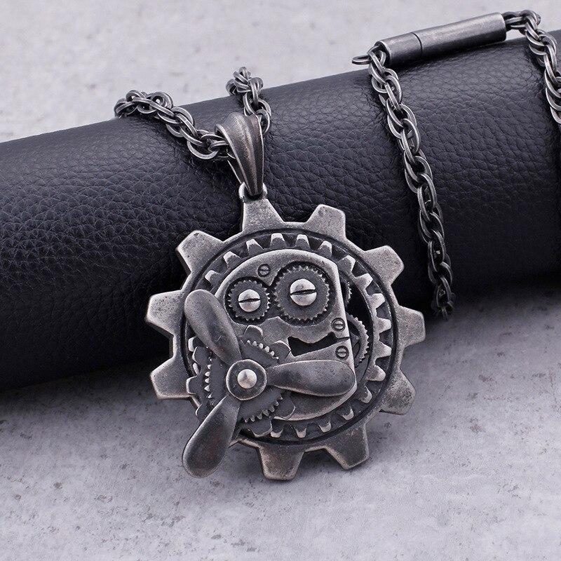 Europäischen und Amerikanischen Modeschmuck Titan Stahl Rotierenden Mechanische Getriebe Anhänger Persönlichkeit