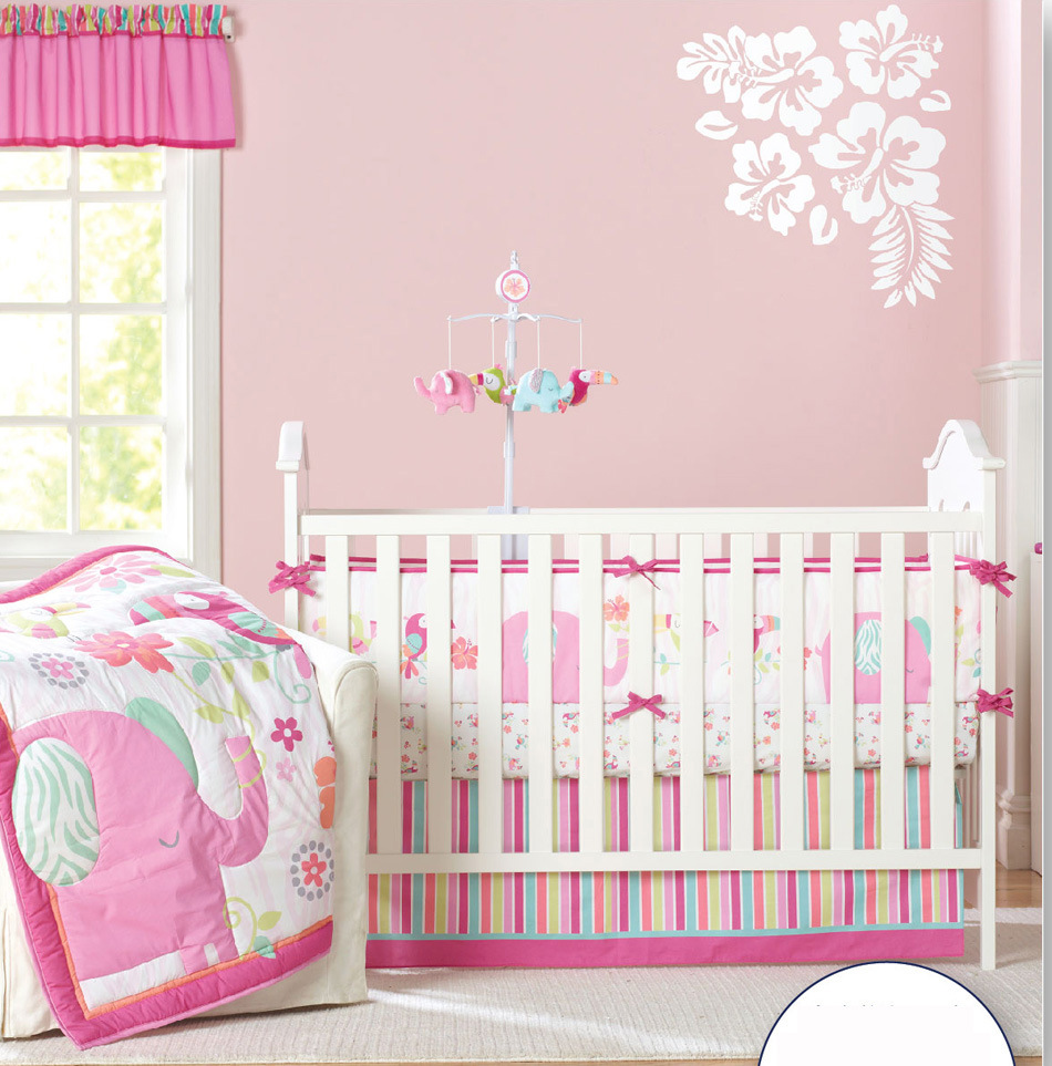 Promotion! 7pcs Embroidery Cartoon Flower Baby Bedding Set Bed Linen crib cot bedding set,include(4bumpers+duvet+bed cover+bed s flower print duvet cover set