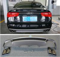 ABS 4 Outlet PP Rear Bumper Diffuser with Exhaust Tips For Audi A6 S6 C7 2012 2013 2014 2015 2STYLE