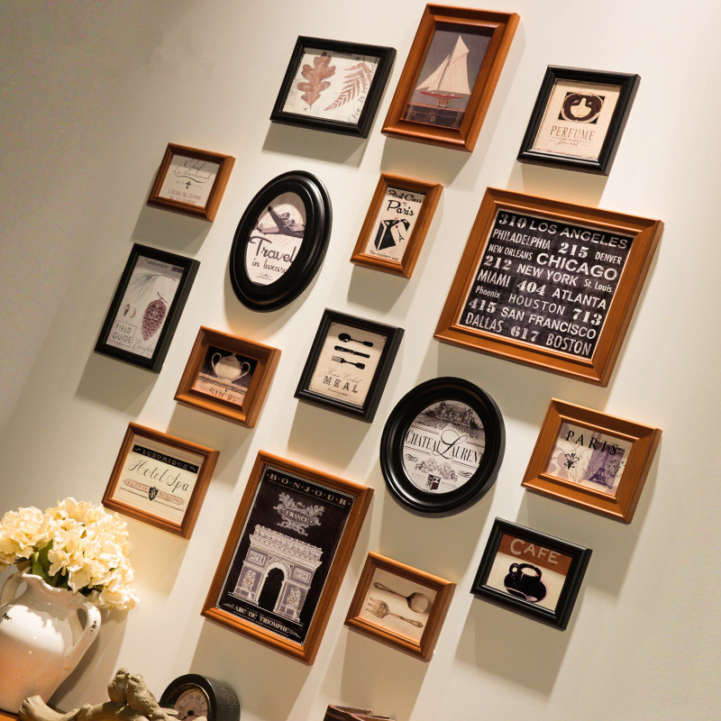 New 16 Pcs Set Wall Hanging Photo Frames American Style Picture Combination Brown Black