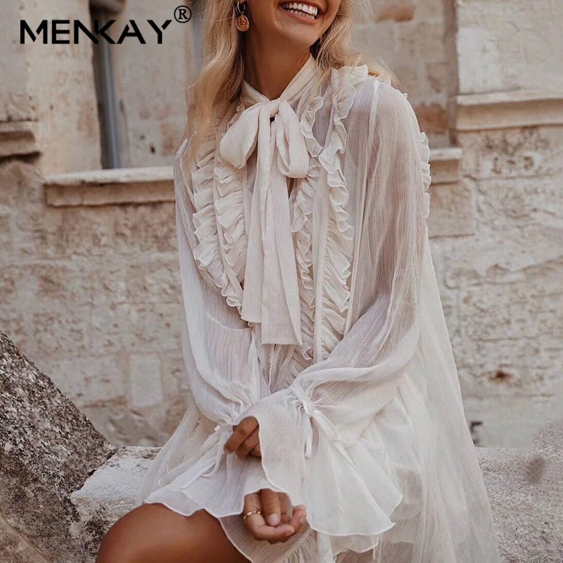 [MENKAY] été plage robe élégante blanc femmes robe v-cou à lacets volants en mousseline de soie vacances femme été soleil robe 2019