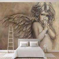Papel pintado 3D personalizado con diseño De Ángel De estilo europeo para sala De estar, Fondo De dormitorio De Chico, Mural De pared, decoración del hogar, Papel De pared 3 D