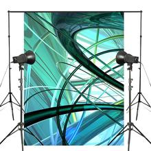 5x7ft Three-dimensional Photography Backdrops Blue Green Line for picture Abstract Art Studio Props