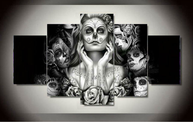 No Framed Printed Sugar Skull 5 Piece Picture Painting Wall Art Room Decor Poster Canvas