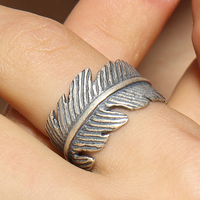 Fashion Jewellery Women Men 925 Sterling Silver Leaf Feather Opening Ring Ajustable Size Free Shipping
