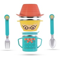 Infant Food Bowl Cup Feeding Dinner Fork Spoon For Children Kids Bowl Cartoon Child Plate Tableware