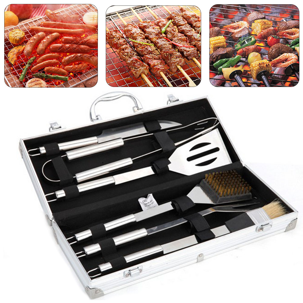 BBQ Grill Stainless Steel Barbecue Set with Storage Case Outdoor Barbecue Tool Combination (6PCS/Set)