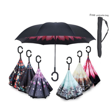 Handle Windproof Reverse Folding Umbrella Man Women Sun Rain