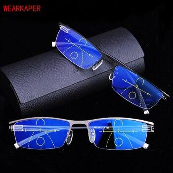 8def4b1d5a WEARKAPER anti-blu-ray Multifocal Progresiva gafas de lectura hombres  óptico Hyperopia Presbyopia gafas Diopter Cerca Lejos 1 To3