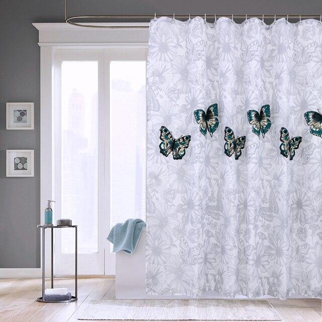 Elegante Farfalla Poliestere Impermeabile Tenda Della Doccia di Spessore Lavabil