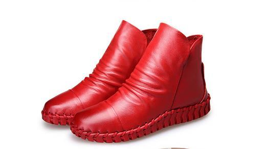 Red Perezosos Cortas De Coser Maternidad Genuino Plus thin Botas thick Red thick Invierno Velet Black Mujer Vaca Piel Mano Plana Black A Cuero Zapatos Thin S6dxCCwq