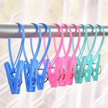 12pcs Plastic Clothespins Hook Laundry Clips Portable Bra Socks Hanger Pegs Racks Anti Wind Socks Clips Airer(China)