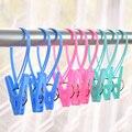 12pcs Plastic Clothespins Hook Laundry Clips Portable Bra Socks Hanger Pegs Racks Anti Wind Socks Clips Airer