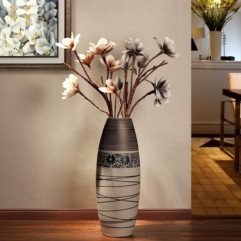 Jingdezhen creative hand-painted ceramic landing large vase Nordic style modern living r ...