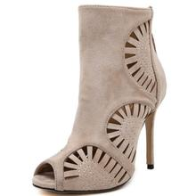 Rome Sandals Women High Cut High Heels Hollow Carved Peep Toe High-heeled Shoes Ladies Sexy Stiletto Gladiator Short Boots