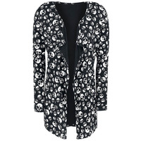 Elegant Women Printed Long Cardigans Spring Summer Knitted Thin Skull Head Printing Cardigan Sweater