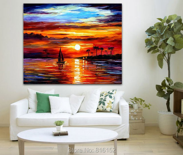 Calm Sunset Acrylic Painting Palette Knife Seacape Wall Art On Canvas Print