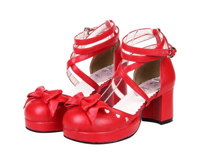 Cosplay Robe Noir Pompes Partie Femmes 46 D'amour Coeur blanc Haute Mori Lolita Empreinte Princesse Angélique Talons Femme Lady Bowtie Chaussures rouge rose Fille OHAAXq
