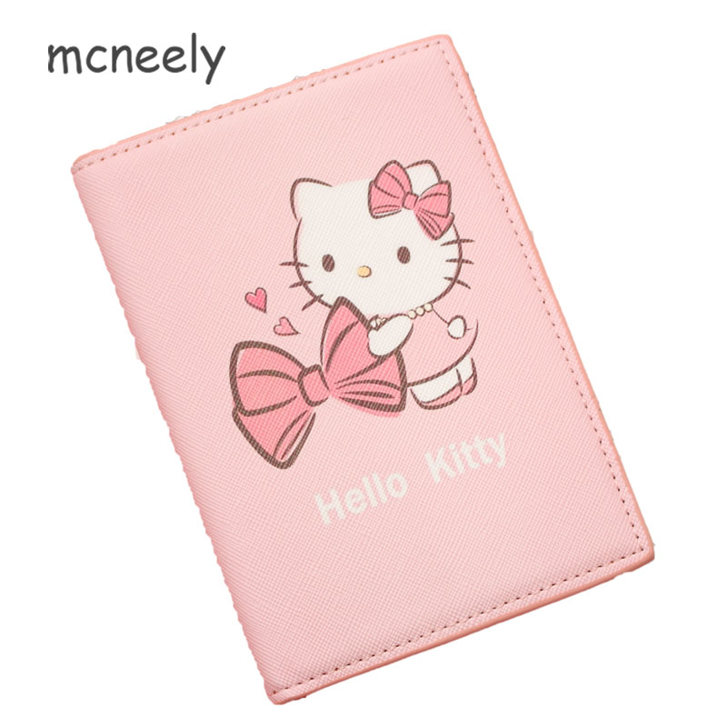 63d318cec Bowknot hello kitty Travel Passport Cover girls Credit Card Holder Money Wallet  ID Card Documents Flight Bit License Purse Bag
