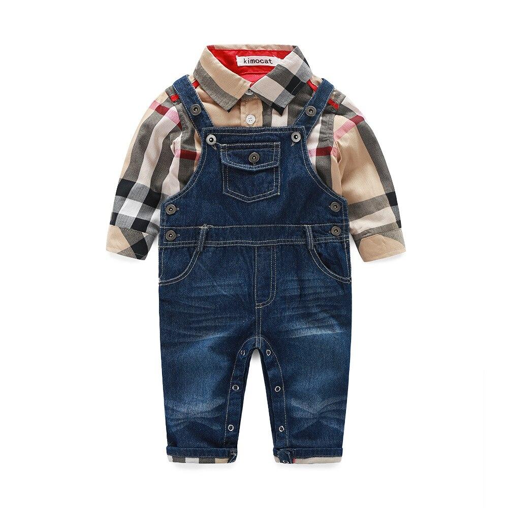 New gentleman clothes baby boys long sleeve cotton plaid t shirt +denim overalls suit autumn infant clothes newborns wear 17J701