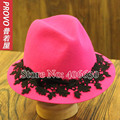 Elegant Wide Brim Wool Fedora Hats For Women Chapeau Feminino Felt Church Hat Free Shipping PWFR-094