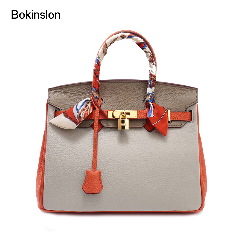 Bokinslon Leather Bags Woman Split Leather Fashion Ladies Handbags Popular Temperament Female Crossbody Bag сумка coccinelle coccinelle co238bwynt80