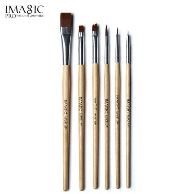 6pcs Wood Handle Makeup Brushes Set Halloween Face Paint Cosmetics Brushes Eye Shadow Eyebrow Brush Beauty Make Up Tools
