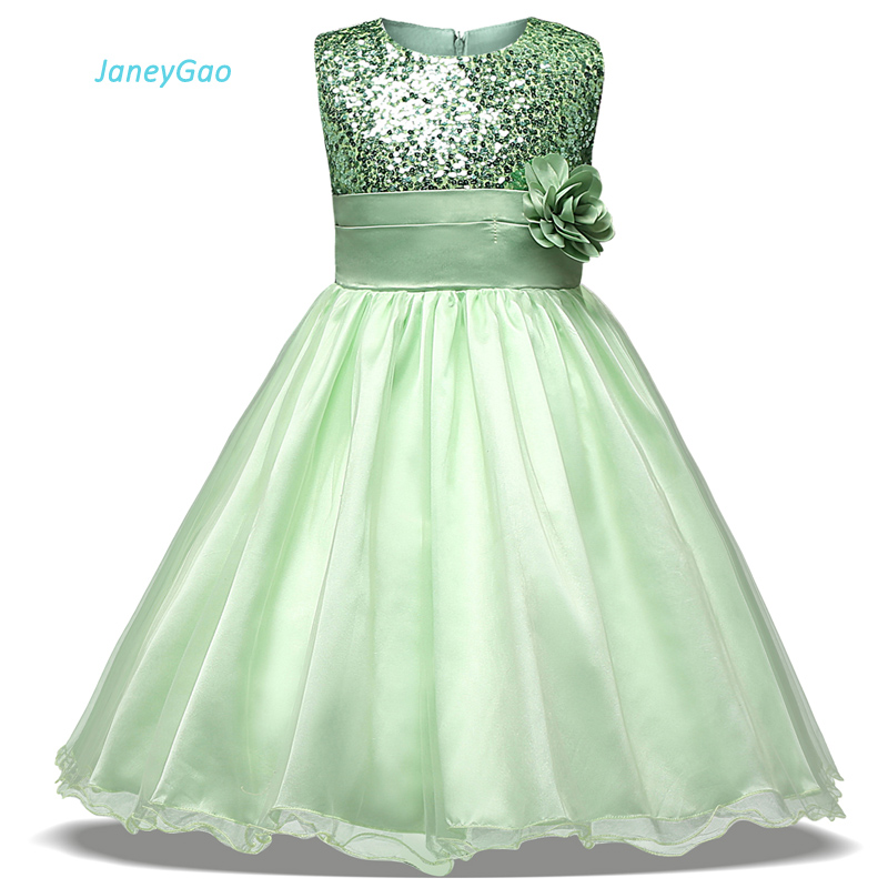 JaneyGao 2019 New Arrival   Flower     Girl     dresses   For Wedding Party With Sequines First Communion   Dresses   Formal Wear Cheap Price